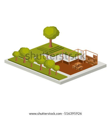 Isometric House Architecture Model Trees Design Stock Vector