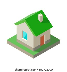 Isometric House Icon, logo. Concept of eco, green home, real estate, rent property, construction. Vector illustration with solid colors.