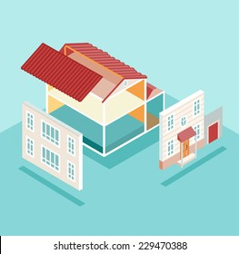Isometric house and its parts isolated. Vector illustration