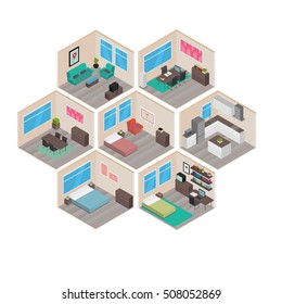 Isometric house rooms: Home set