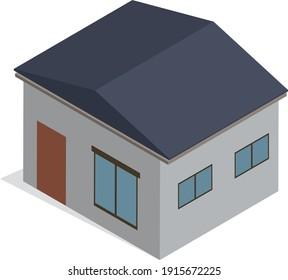 Isometric house simple 3D illustration