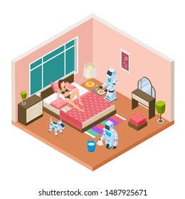 Isometric household robots. Vector robots, modern technologies for homework. Woman relaxing, androids are cleaned and cooked