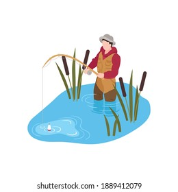 Isometric human character fishing in river 3d vector illustration