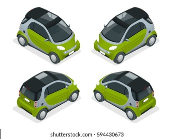 Isometric Hybrid Car. City car isolated on white background. Vector compact smart. Vehicles isolated.