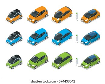 Isometric Hybrid, Electric and Mini Cars. City cars isolated on white background. Vehicles isolated.