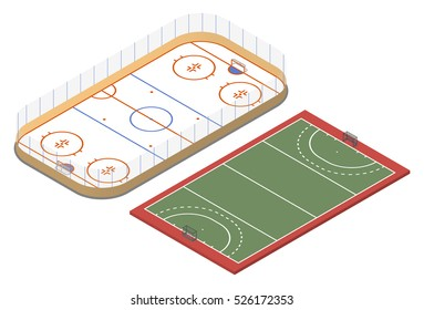 Isometric ice hockey rink and field hockey court