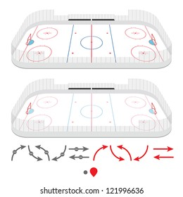 Isometric ice hockey rink with set of training elements