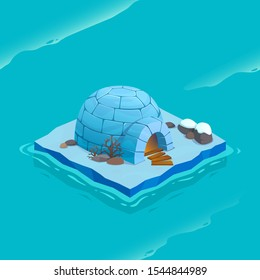 Isometric ice island with igloo. Vector cartoon illustration for computer games.
