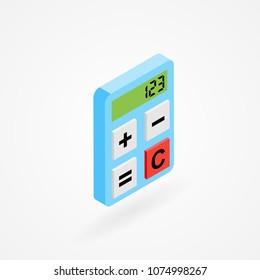 Isometric icon of calculator
