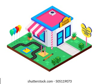 Isometric icon of Children Toys Shop with swings, balloons and sandbox.