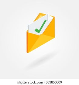 Isometric icon of an envelope with a document and accept sign. Isolated on white background.