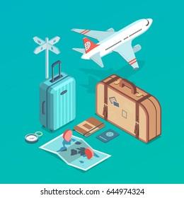 Isometric icon illustrations of traveling, plane,  passenger luggage, tourist and journey objects