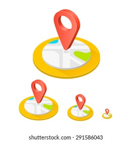 Isometric icon location, Flat icon point map, 3d icon point map, Vector illustration