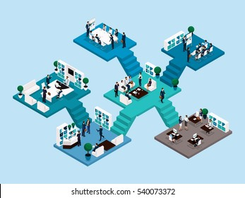 Isometric icon of many storey office building with stairs and bathrooms, office workers 3D business men and women. Vector illustration.