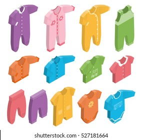 Isometric icon set children's clothes for newborn baby girl or boy on white background. Overalls, shirt, rompers, pants and baby's loose jacket. Collection of clothing. Vector 3d illustration.