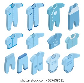 Isometric icon set children's clothes for baby boy on white background. Overalls, shirt, rompers, pants and baby's loose jacket. Collection blue clothing. Vector 3d illustration.