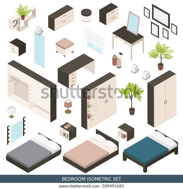 Isometric Icon Set Create Bedroom Furniture Stock Vector ...
