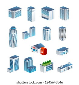 Isometric icon set representing office building.