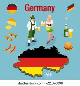 Isometric icon set of Traditional symbols of culture and cuisine of Germany or Deutschland. Federal Republic of Germany and flag.  Flat vector illustrations.