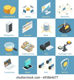 Isometric icons with equipment for cryptocurrency mining, blockchain and security, exchange rates, key code isolated vector illustration