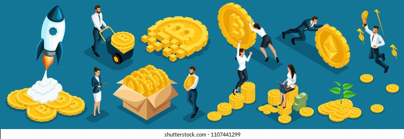 Isometric icons investors, speculators with ico blockchain concept, safe bitcoin, cryptocurrency mining, startup project. Horizontal banner vector illustration