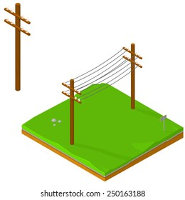 Isometric Icons of Power lines delivering energy. Power Lines Isometric Power Lines on land.