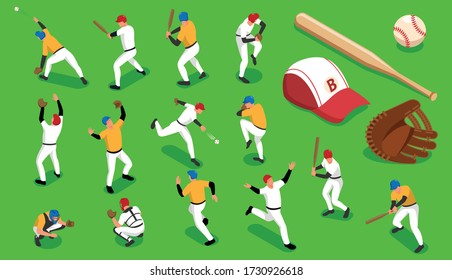 Isometric icons set with baseball teams and sports outfit isolated on green background 3d vector illustration