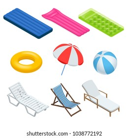 Isometric icons set of Beach elements and objects. Isolated Vector Illustration. Beach umbrellas, sunbeds, chairs, games, air mattress for swimming and beach. Enjoying suntan.