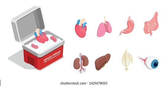 Isometric icons set with different donor human organs for transplantation isolated on white background 3d vector illustration