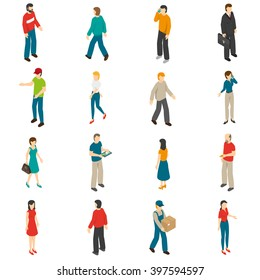Isometric icons set of different people diverse by job education level sex clothes hairs isolated vector illustration