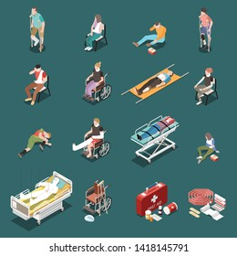 Isometric icons set with injured male and female people and first aid kit 3d isolated vector illustration