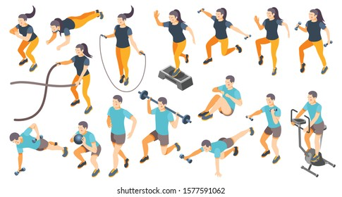 Isometric icons set with men and women doing cardio workout isolated on white background 3d vector illustration