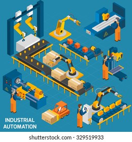 Isometric icons set with robotic machinery and  operators of  machine with control software  vector illustration
