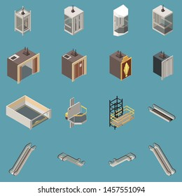 Isometric icons set with various lifts and escalators isolated on blue background 3d vector illustration
