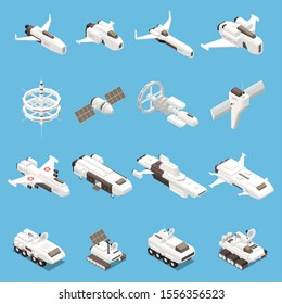 Isometric icons set with various space ships and stations isolated on blue background 3d vector illustration