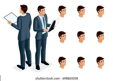 Isometric icons of woman's emotions, 3D body front view and rear view, face, eyes, lips, nose. Facial expression. Qualitative isometry of people for vector illustrations.