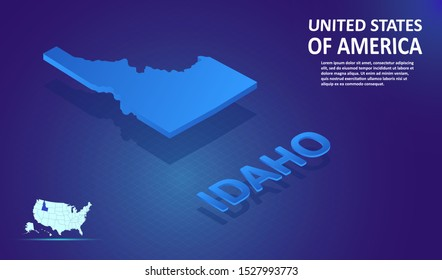 Isometric IDAHO State map on blue and glowing background. 3D Detailed Map in perspective with place for your text or description.Technology Information Graphic Elements for Website, app, UI, Travel