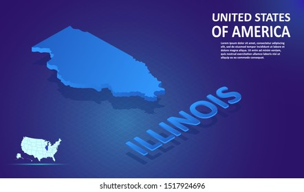 Isometric ILLINOIS State map on blue and glowing background. 3D Detailed Map in perspective with place for your text or description.Technology Information Graphic Elements for Website, app, UI, Travel