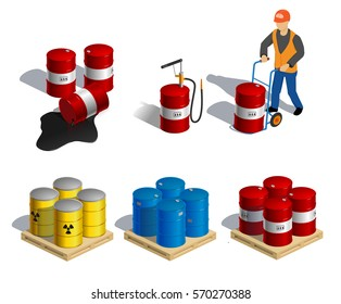 Isometric illustration of barrels. motor oil, hazardous waste, oil spills, a man driven by the barrel. set