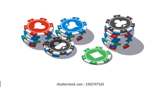 isometric illustration bet chips in Online casino mobile app. Banner with logo bet chips Online Casino isometric mobile app icon isolated on white background. Jackpot on the table icon isometry poster