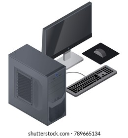 Isometric illustration of black desktop computer with monitor and keyboard ( PC )