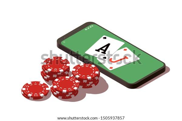 Isometric Illustration Blackjack Online Casino Mobile Stock Vector