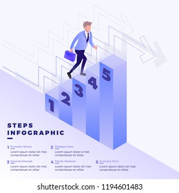 Isometric Illustration of Businessman Climbing Stairs to Success Goal. Colorful business level stages  infographic  that can be used in presentations.