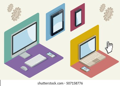 Isometric illustration with a computer, laptop, tablet and smartphone. Responsive web design concept. Vector illustration.