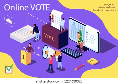 Isometric illustration concept. Group of people give online vote and putting papper vote in to the vote box. Content for web page, banner, social media, documents, cards, posters, news.