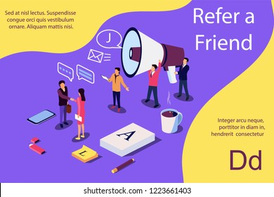 Isometric illustration concept. People shou into the microphone with Refer a friend words Content for web page, banner, social media, documents, cards, posters.
