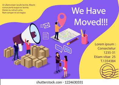 Isometric illustration concept. People shout on megaphone with we have moved word, change office address vector illustration concept, can use for,  banner, social media, documents, cards,mobile app.