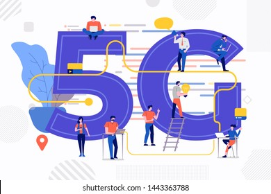 Isometric illustration design concept 5G. Network technology solution connecting internet with highspeed. People working lifestyle together. Vector illustrate.