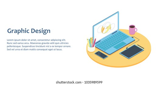 Isometric illustration of designer workplace with computer and graphics tablet. For concept of office workspace