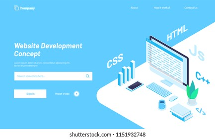 Isometric illustration of desktop with  different programing languages or work place of a developer, responsive web template design for Website Development concept.